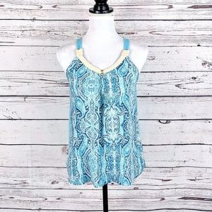Shades of blue tribal tank top